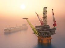 Supertanker en Olieplatform Royalty-vrije Stock Afbeelding