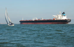 Supertanker Genmar Maniate. General Maritime Corporations (Genmar) newest super tanker Genmar Maniate underway in the confines of the Solent, England. September Royalty Free Stock Photo