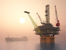 Supertanker and Oil Platform Stock Photography