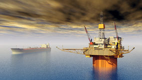 Supertanker and Oil Platform Royalty Free Stock Image