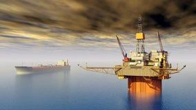 Supertanker and Oil Platform Royalty Free Stock Image