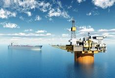 Supertanker and Oil Platform Stock Photos