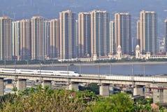 Supertrain  on Concrete Bridge Royalty Free Stock Photos