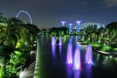 Singapore city at night. Supertree Grove forest illuminated at night. Gardens by the Bay, Singapore city stock photography