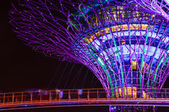 Supertree Grove light show at Gardens by the Bay, Singapore Stock Photos