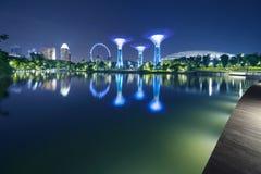 Supertrees et réflexion d'insecte de Singapour Photos stock