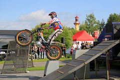 Supertrial Stunt Show by Tommi Ahvala. ALAHARMA, FINLAND - AUGUST 8, 2015: The  Finnish former world champion motorcycle trials rider Tommi Ahvala gives a Stock Photo