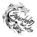 Supertubes de Beste het Surfen Van letters voorziende druk van de de schets handdrawn serigrafie van de borstelinkt Royalty-vrije Stock Afbeeldingen