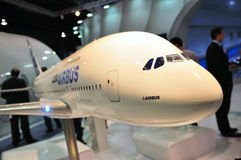 Supertunnel-bohrwagen Airbus-A380 in Singapur Airshow Stockbilder