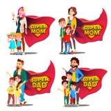 Supervati, Mutter-Vektor Mutter und Vater Like Super Hero mit Kindern Schildausweis Lokalisierte flache Karikatur Illudtration lizenzfreie abbildung