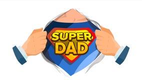 Supervati-Zeichen-Vektor Tag des Vaters s Superheld-offenes Hemd mit Schild-Ausweis Lokalisierte flache Karikatur-komische Illust stock abbildung