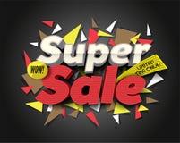 Superverkauf mit abstrakten Dreieckelementen Konzept für das Vermarkten und E-Commerce Freie Marke mit rotem Farbband Abstraktes  Stockfotos