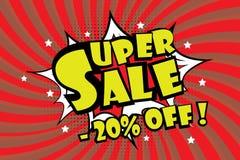 Superverkauf pricetag in der komischen Pop-Arten-Art, - 20% weg vom Rabatt lizenzfreie abbildung