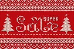 Superverkaufs-Winterurlaub gestricktes Muster Nahtloser Hintergrund Stockbilder