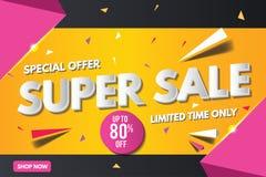 Superverkaufsfahnenschablone Verkaufsfahnendesign Abstrakte Verkaufs-Fahne lizenzfreie stockfotografie