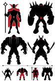 Supervillain Silhouette. 4 different supervillain silhouettes in 2 versions each Stock Image