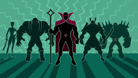 Supervillain Team. Looping animation of team of supervillains posing
