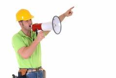 Superviseur avec le mégaphone Photographie stock