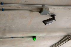 Supervisie 24 uur op 24 uur cameratoezicht met gesloten circuit op pool van de bureaubouw Veiligheidssysteem Royalty-vrije Stock Afbeelding