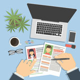 Supervising and accepting resume. Director considering cv, finding new staff. Office desktop topview stock illustration