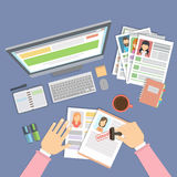 Supervising and accepting resume. Supervising and accepting the resume. Director considering cv, finding new staff. Office desktop topview royalty free illustration
