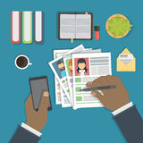 Supervising and accepting resume. Supervising and accepting the resume. Director considering cv, finding new staff. Office desktop topview stock illustration