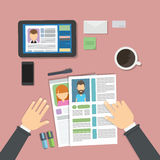 Supervising and accepting resume. Supervising and accepting the resume. Director considering cv, finding new staff. Office desktop topview. Internet research royalty free illustration