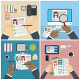 Supervising and accepting resume. Supervising and accepting resume set. Director considering cv, finding new staff. Office desktop topview royalty free illustration