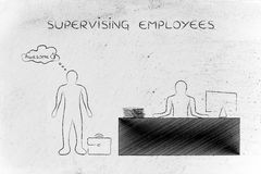 Supervising employees, boss happy with worker performance Royalty Free Stock Photography
