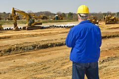 Supervising Highway Construction Stock Image