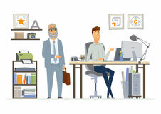 Supervising Staff - modern vector cartoon business characters illustration Royalty Free Stock Photos