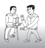 Supervisor and accident victim. Hand drawn illustration of a supervisor offering safety advice to a worker whose foot is in plaster and bandaged and who walks royalty free illustration