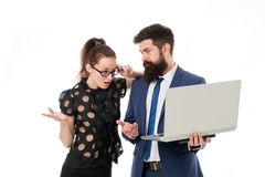 Supervisor concept. Couple working using laptop. Business lady check what is done. Outrageous result. Lady boss. Unsatisfied with business indicators. Manager royalty free stock photo