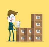 Supervisor counting stocks. stock illustration