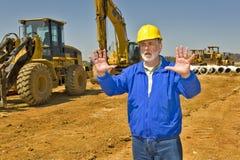Supervisor de la construcción que dirige Traffice imagen de archivo libre de regalías