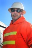 Supervisor del casco de protección imagenes de archivo