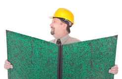 Supervisor engineer holding plans Royalty Free Stock Image