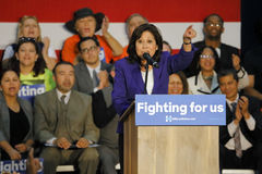Supervisor Hilda Solis introduces Former Secretary Hillary Clinton Campaigns for President at East Los Angeles College Cinco de Ma. E LOS ANGELES COLLEGE Royalty Free Stock Photography
