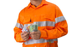 Supervisor or work man with high visibility shirt  holding and c Royalty Free Stock Images