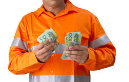 Supervisor or work man with high visibility shirt  holding and c Stock Image