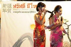 Supervisore delle cerimonie durante il nuovo anno cinese Immagine Stock