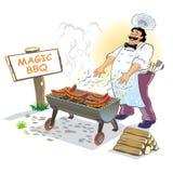 Supervisore magico del barbecue Fotografia Stock Libera da Diritti