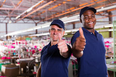 Supervisors thumbs up. Cheerful factory supervisors giving thumbs up Royalty Free Stock Photography