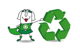 Superwiederverwertungsfrau mit einem recyling Zeichen Stockfotografie