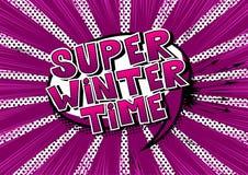 Superwinter-zeit- Comic-Buch-Artwörter lizenzfreie abbildung