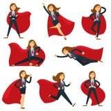 Superwoman или супер менеджер офиса женщины в значках характера вектора костюма супергероя плоских иллюстрация штока