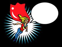 Superwoman flying. Superheroine getting ready for action. Superwoman flying through the sky Stock Image