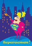 Superwoman. Mother defender fairy girl woman hero superhero city night hostess housewife mother-in-law mother in law humorfantasy tale story is funny bright Royalty Free Stock Photo