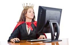 Superwoman pracownik z koroną Zdjęcia Royalty Free
