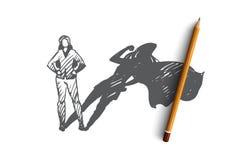 Superwoman, self-esteem, businessman, potential concept. Hand drawn isolated vector. Superwoman, self-esteem, businessman, potential concept. Hand drawn woman vector illustration